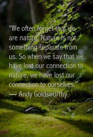 """text on top of a green forest-y scene that reads: """"we often forget that we are nature. nature is not something separate from us. so when we say that we have lost out connection to nature, we have lost our connection to ourselves."""" -Andy Goldsworthy"""