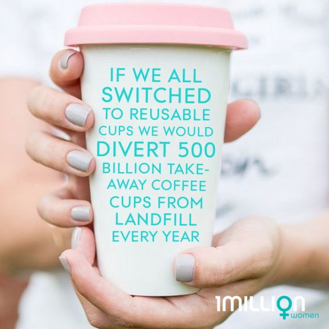 cropped image of a person in white shirt and grey painted fingernails holding a reusable coffee cup that is white with a pink lid with superimposed teal text that reads If we all switched to reusable cups we would divery 500 billion take-away coffee cups from landfill every year.